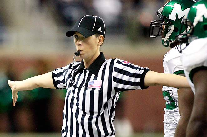 Sarah Thomas has been officiating college football in Conference USA since 2007.