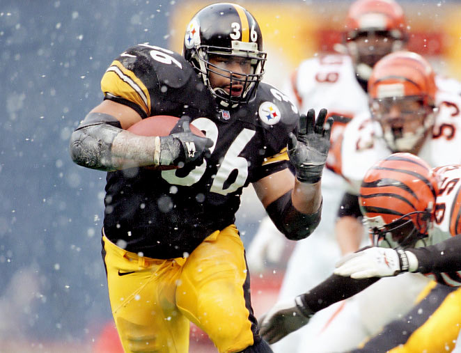 In three seasons with the Rams and 10 seasons with the Steelers, Bettis rushed 3,479 times for 13,662 yards and 91 touchdowns, and caught 200 passes for 1,449 yards and three touchdowns. He was a six-time Pro Bowl pick and a two-time, first-team All-Pro selection. He was a Hall of Fame finalist in 2011, 2012 and 2013. Also worthy of consideration: Corey Dillon, Tiki Barber, Ottis Anderson and Terrell Davis.