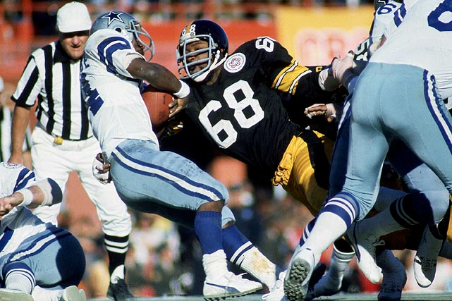 In 11 seasons with the Steelers, Greenwood led the team in sacks six times and finished with 73.5 for his career. He helped Pittsburgh win four Super Bowls, including Super Bowl X, where he sacked Cowboys quarterback Roger Staubach four times. He was a Hall of Fame finalist in 1991, 1995, 1996, 2002, 2005 and 2006. Others worthy of consideration: Michael Strahan, Charles Haley, Leslie O'Neal, Simeon Rice and Clyde Simmons.