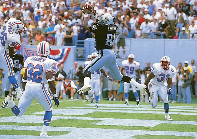 In 16 seasons with the Raiders and one with the Buccaneers, Brown caught 1,094 passes for 14,934 yards and 100 touchdowns. He was a nine-time Pro Bowl pick. He was a Hall of Fame finalist in 2010, 2011, 2012 and 2013. Also worthy of consideration: Andre Reed, Jimmy Smith, Rod Smith, Cliff Branch, Herman Moore, Mark Clayton, Nat Moore and Mac Speedie. <bold>VIDEO: Peter King on whether the logjam at wide receiver will continue. </bold>