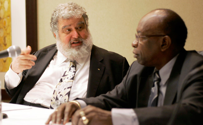 Chuck Blazer (left, seated next to Jack Warner) has been accused of embezzling at least $21 million.