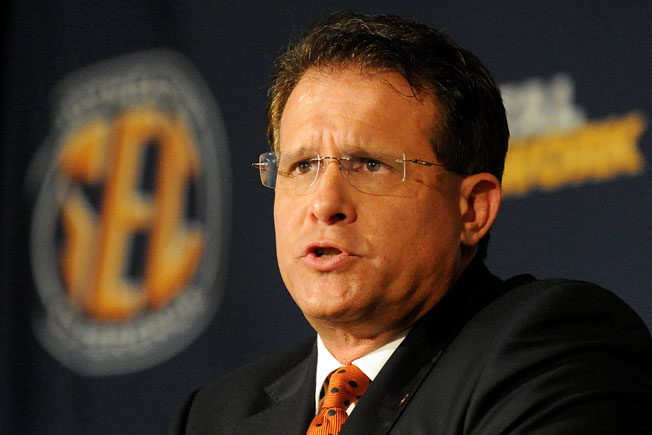 Auburn coach Gus Malzahn discussed his up-tempo offense at length at SEC media days in Hoover, Ala.