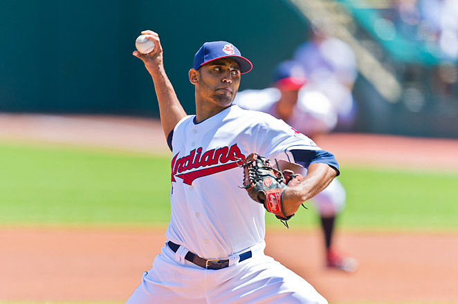 Salazar pitched six innings to win his major league debut on July 11, then returned to the minors.