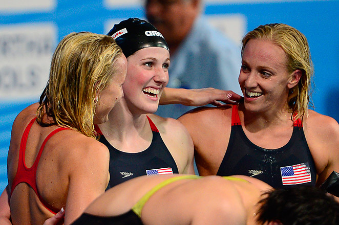 Missy Franklin (center), swam the leadoff leg for the Americans in the 400-meter medley relay.