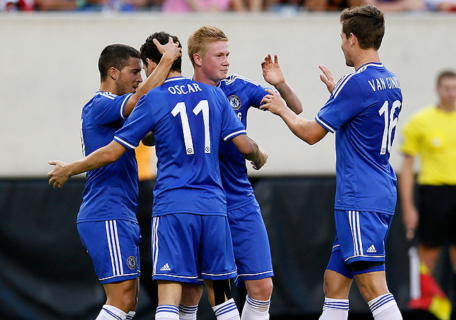 Kevin De Bruyne (second from right) netted Chelsea's first goal in the 29th minute.