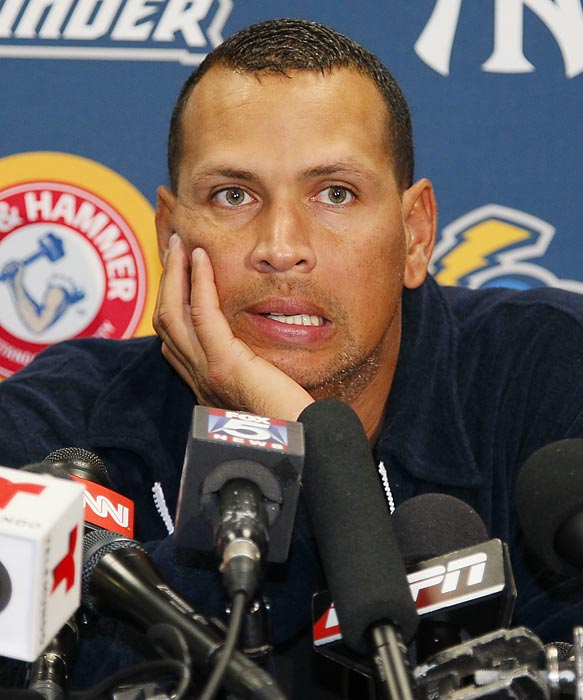 Rodriguez answers questions at a news conference Friday after a rehab game with the Trenton Thunder.