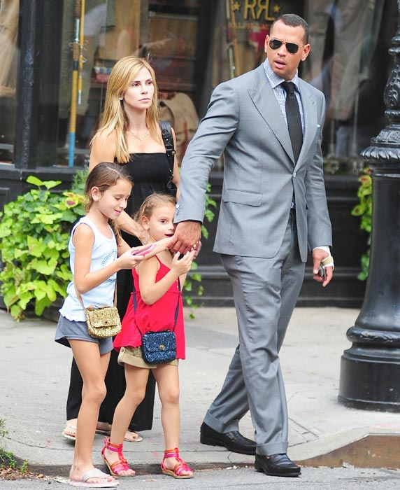 Alex Rodriguez with ex-wife Cynthia Scurtis and their daughters, Natasha and Ella Rodriguez, in August 2012.