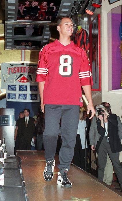 Then-Mariner Rodriguez models a 49ers jersey at the first-ever ESPY fashion show in 1997.