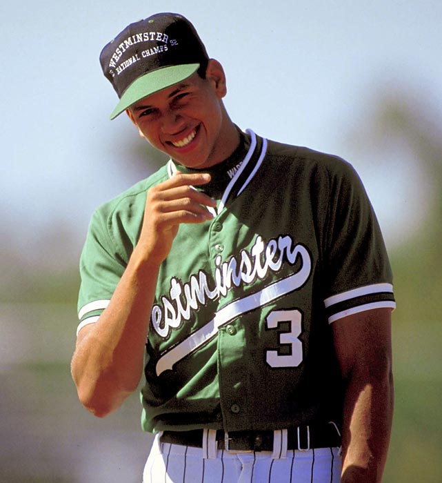 A young Rodriguez smiles during a game for Westminster Christian High in 1993.