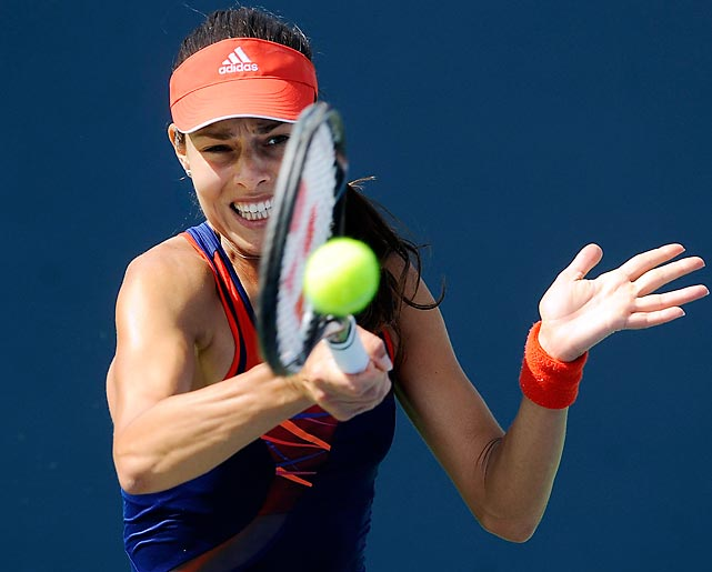 Ana Ivanovic returns a ball during a semifinals defeat to Victoria Azarenka during the Southern California Open on Aug. 3.