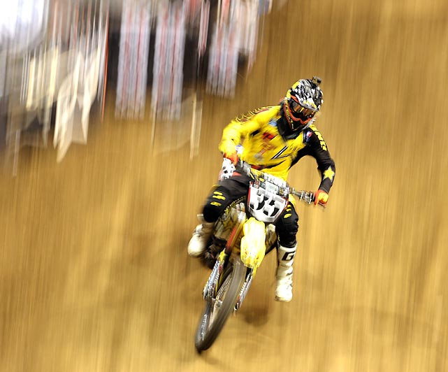 Ryan Sipes competes in the Moto X Racing event during X Games Los Angeles at the Staples Center on Aug. 3.