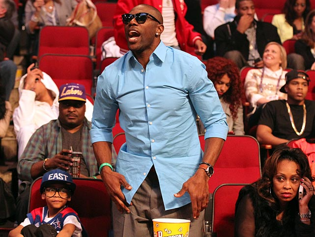 Owens has something to say while attending the 2013 NBA All-Star Game in Houston.