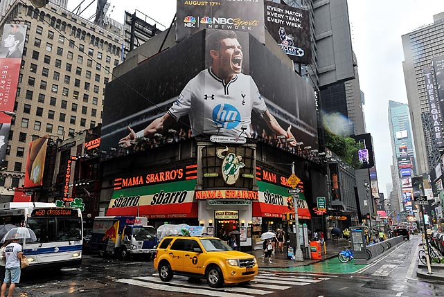 A view of a billboard of Real Madrid's Gareth Bale in Times Square on Aug. 1, 2013.