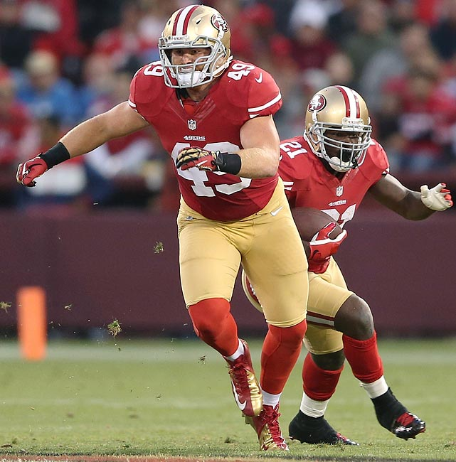 If fullbacks are on the way out of the NFL, as many will tell you, someone forgot to tell the 49ers. In the offense created by Jim Harbaugh and Greg Roman, Bruce Miller is an incredibly important cog. Not only is he a dynamic blocker, perfectly attuned to the team's power/counter/trap blocking schemes, but also he's a sure bet to line up all over the place -- especially in the 49ers' Pistol plays with quarterback Colin Kaepernick -- and further upset potential defensive adjustments.