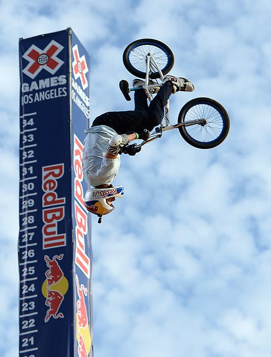 Kevin Robinson competes in the GoPro BMX Big Air Final during X Games Los Angeles in Irwindale, Calif.