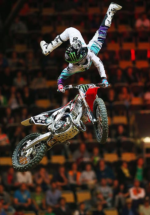Nate Adams performs in the Moto X speed and style competition at the X Gamed in Munich, Germany.