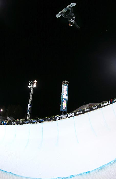 Shaun White snowboards during practice before the Snowboard Superpipe Final at the Winter X Games in Aspen, Colo. White would go on to win his sixth consecutive Superpipe gold medal.
