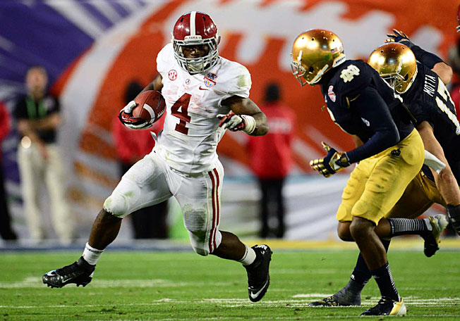 T.J. Yeldon rushed for 108 yards and a touchdown in Alabama's win over Notre Dame in the title game.
