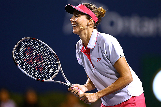 Monica Seles took part in an exhibition doubles match on the first day of the Rogers Cup.