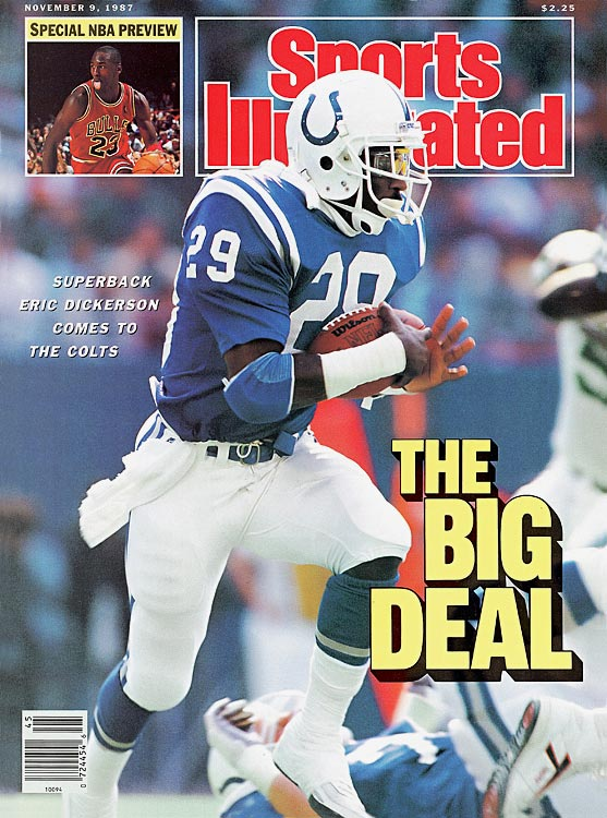After two years of contract disputes, the Los Angeles Rams parted ways with running back Eric Dickerson, trading him during the strike-shortened 1987 season in a three-team deal with the Indianapolis Colts and the Buffalo Bills. Dickerson's first two years in Indianapolis went well as he continued to average more than 100 yards rushing per game. However, the wear of seven straight seasons with 283 or more carries finally caught up to Dickerson at 29 as his rushing average dropped precipitously each year until his retirement after the 1993 season.