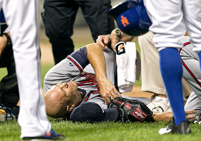 Tim Hudson was down for the count after breaking his ankle against the Mets in July.