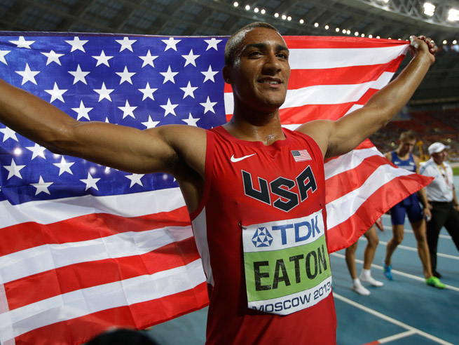 Ashton Eaton beat out Germany's Michael Schrader for first at the world championships in Moscow.