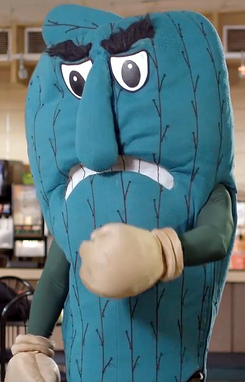 An actual school that actual people attend to earn actual degrees uses a cartoonish Okra for a mascot. It also plays tricks on people in commercials.  Fear the Okra.