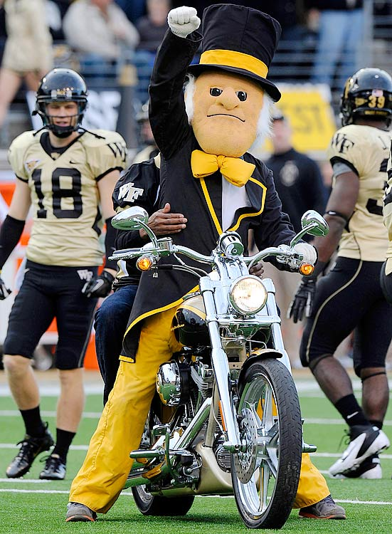 Arguably the coolest thing about Wake Forest, the Demon Deacon is a mascot that has a bow tie hanging from his chin and rides around on a custom-built chopper.