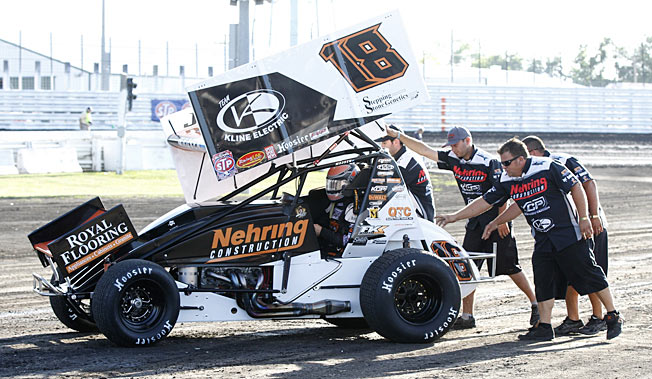 A winged sprint car like the one Tony Stewart was driving when he broke his leg in a crash.