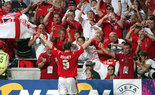 Wayne Rooney celebrates after scoring a memorable goal against Croatia at Euro 2004.