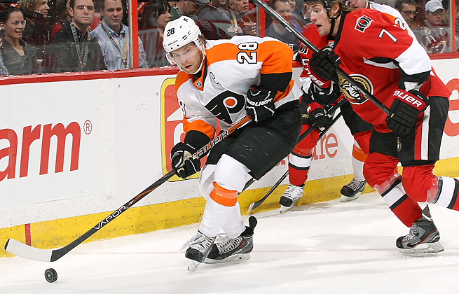 Center and team captain Claude Giroux scored 48 points in 48 games last season for the Flyers.