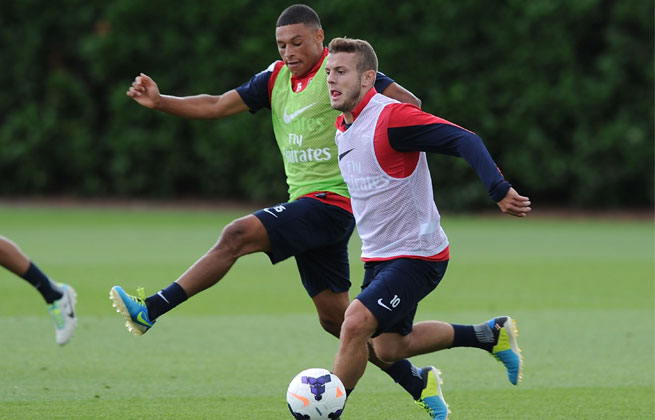 Jack Wilshere (right) started 20 games for Arsenal last season.