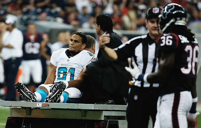 Dolphins tight end Dustin Keller tore his ACL, PCL, MCL and dislocated his knee after taking a low hit from Texans rookie safety D.J. Swearinger. Keller had recently signed with the Dolphins on a one-year, $4.25 million deal.