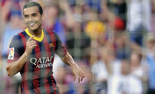 Barcelona's Pedro Rodriguez celebrates after scoring one of his two goals against Levante.
