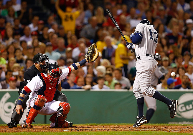 Alex Rodriguez was hit by a Ryan Dempster pitch during the second inning at Fenway.