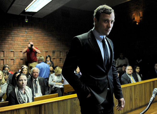 Oscar Pistorius appears in the Pretoria Magistrates court, where he was accused of premeditated murder of Reeva Steenkamp.