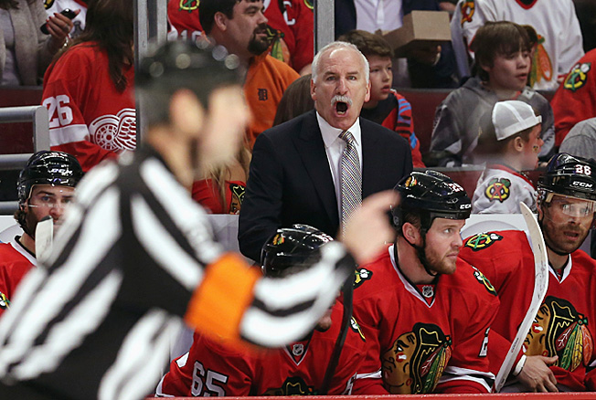 Blackhawks coach Joel Quenneville probably wouldn't mind being able to challenge a call or two.