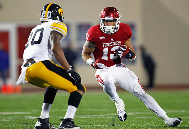 Indiana wide receiver Kofi Hughes made 43 receptions for 639 yards and three touchdowns last season.