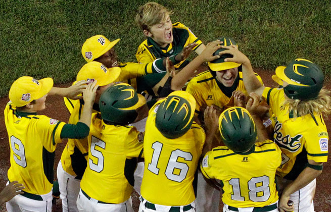 Chula Vista, Calif., celebrates advancing to the championship round of the Little League World Series.