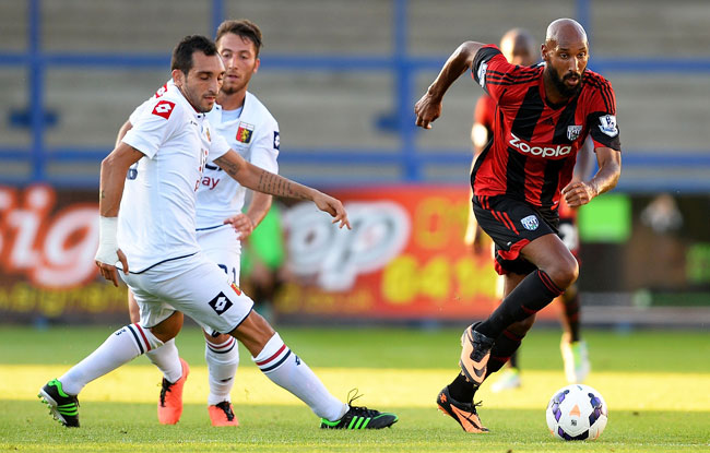 Nicolas Anelka (right) joined West Brom in July after being released by Shanghai Shenhua.