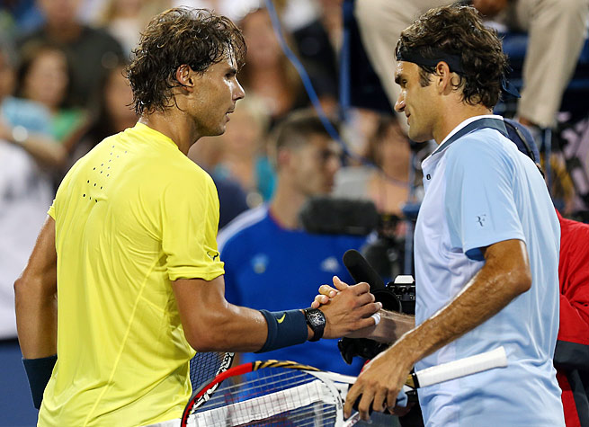 No. 2 Rafael Nadal (left) and No. 7 Roger Federer could meet in the quarterfinals of the U.S. Open.