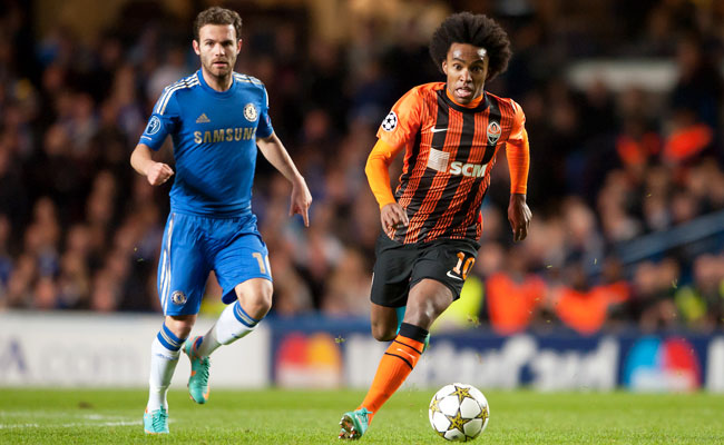 Willian (right) impressed against Chelsea during the Champions League last season.