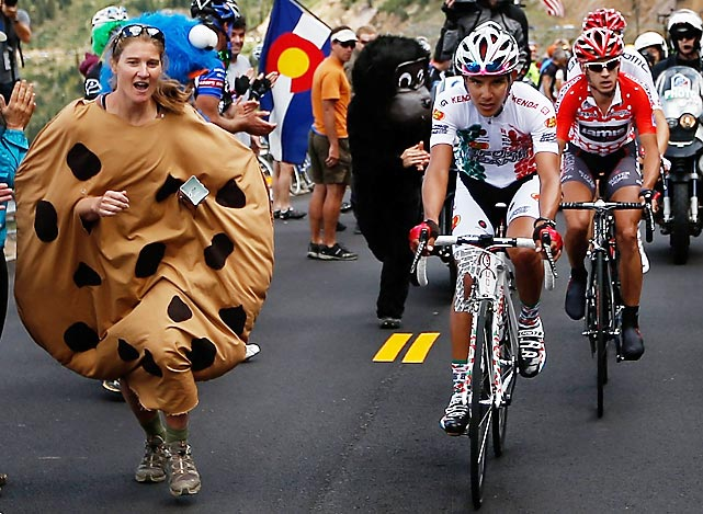 Luis Lemus of Mexico leads the peloton into the hazardous baked goods section in Independence Pass during Stage Two of the enthralling bike race in Breckenridge, Colorado.