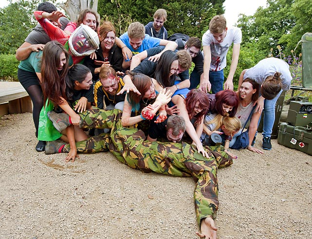 A sneak peek at Season 4 of<italics> The Walking Dead?</italics> Perhaps. Or simply preparation in London's Hyde Park for the Zombie Evacuation Races that will be held in various UK cities in October.
