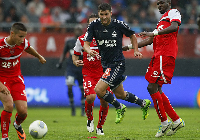 Andre-Pierre Gignac (center) came through when it mattered most for Marseille against Valenciennes.