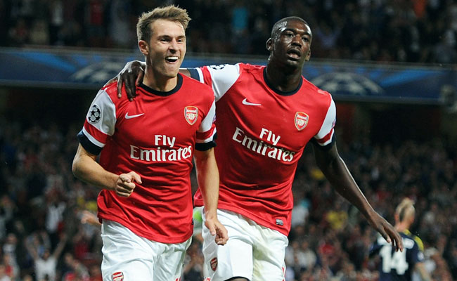 Aaron Ramsey (left) celebrates after giving Arsenal a 2-0 lead.