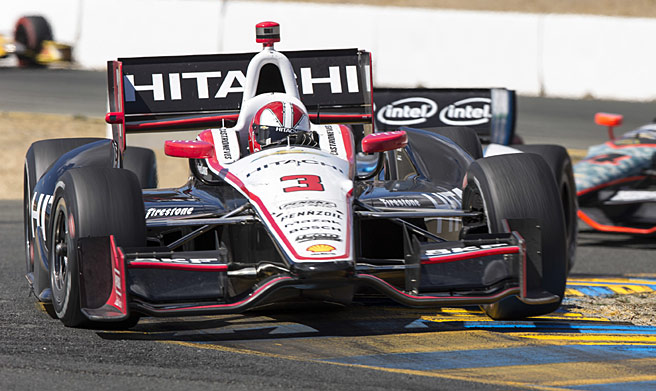 Helio Castroneves' pursuit of his first IndyCar title was helped on Sunday by a penalty to Scott Dixon.