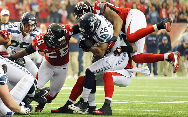 The Falcons stopped Michael Robinson on a fourth-and-one attempt in their victory in the 2012 divisional round of the playoffs.