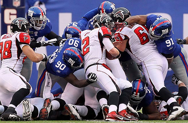 Matt Ryan failed twice on fourth-and-one attempts against the Giants in a 24-2 wild-card playoff loss in 2012.