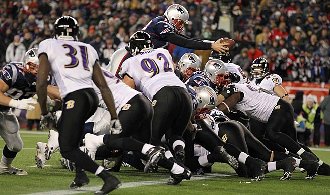 Patriots fans will forever remember this fourth-and-one dive and tumble by Tom Brady against the Ravens.